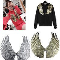 Embroidered iron on patches for clothes Wings design sequins DIY Motif  HUUS