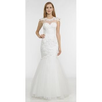 Off White Appliqued Mermaid Long Formal Dress Cut-Out Back