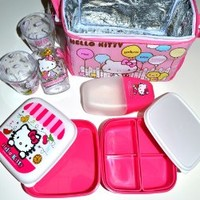 Hello Kitty Thermal Lining Lunch/ Bento Bag Set- 7 Pcs