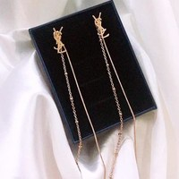 YSL fashionable popular earrings long tassel temperament retro personality joker simple studs