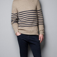 STRIPED STRUCTURED SWEATER - Knitwear - Man - New collection - ZARA United States