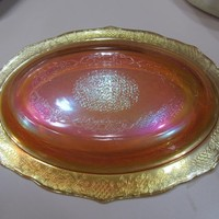 set of 4 Platters Wedding serving Platters Marigold Carnival Glass Normandie Pattern Federal Glass Rainbow Glassware Iridescent Rose Gold