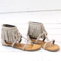 Not Rated: Xenia Studded Fringe Sandal {Taupe}
