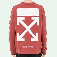 OFF-WHITE autumn and winter new arrow striped crewneck sweater Red