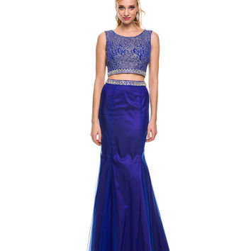 Preorder -  Royal Blue Two Piece Lace Gown  2015 Prom Dresses