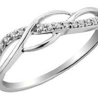 Diamond Promise Ring 1/10 Carat (ctw) in Sterling Silver, Size 7