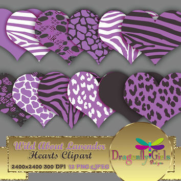 """80% OFF Sale WILD About Lavender Hearts 8"""" clipart, commercial use, digital scrapbook papers, vector graphics, printable, Instant Download"""