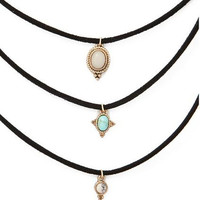 New fashion jewelry leather turquoise choker necklace set 1set =3pieces