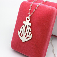 Hope anchor monogram necklace personalized present--925 sterling silver necklace any letter customized