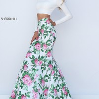 Two Piece Print Long Prom Dress with Sleeves by Sherri Hill