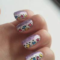 Purple Glitter And Colourful Cheetah Print Nail Art - False nail set, artificial, fake, acrylic, hand painted, press on nails