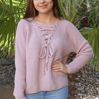 Crush On You Mauve Pink Knit Lace-Up Sweater