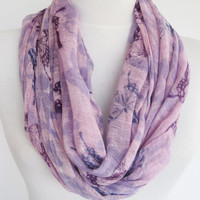 Lilac / Purple Cotton Patterned Scarf, Organic Scarf, Infinity Scarf, Loop Scarf, Cowl, Christmas Gift