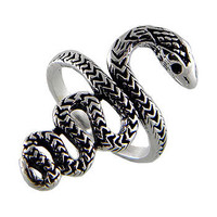 Snake Sterling Silver Ring Black Oxidized