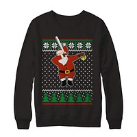Dabbing Santa Softball Ugly Sweater Christmas