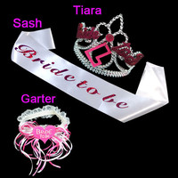 Bride to be set Bachelorette party supplies wedding dress sweet pink ribbow design for fresh bridal