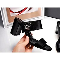 LV 2019 new women's high-heeled slippers Black