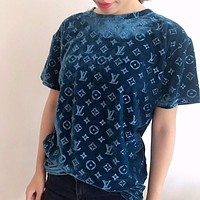 LV Louis Vuitton New embossed letters gold velvet women's top loose large size short-sleeved pullover casual T-shirt