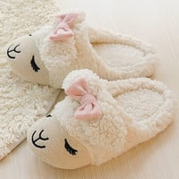 White Cartoon Sheep Pattern Bow Decoration Flat Slippers