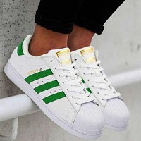 """Adidas"" Trending Women Men Casual Shell-toe Flats Sneakers Sport Shoes White( green line) I"