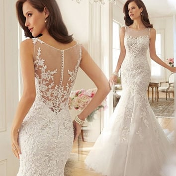 White Princess Bride Fishtailing Backless Lace Wedding Dress = 1929437444