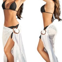 Sexy White Beach Pool Sarong Pareo Cover Up - One Size