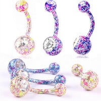 s Body Piercing Jewelry Crystal Rhinestone Dangle Button Belly Navel Ring SM6