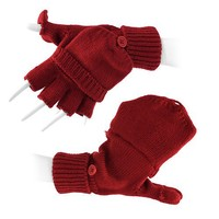 Short Finger Fingerless Winter Gloves with Mitten Covers Solid Red