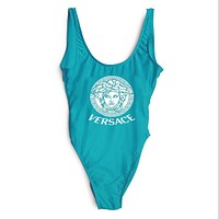 "Hot Sale ""Versace"" Trending Women Stylish Print Vest Type U Collar One Piece Bikini Swimwear Bathing Blue I-ZDY-AK"