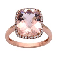 5.51tcw Cushion Morganite & Diamonds in 14K Rose Gold Halo Engagement Ring
