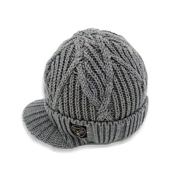 Knuckleheads Gray Boy's Baby Visor Beanie Hat with Stripes Detail, Gray Cable Knit