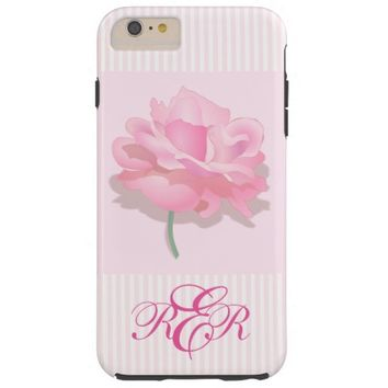 Classic Pink Rose Monogrammed iPhone 6 Case