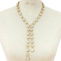 """17"""" crystal bridal prom choker collar tie necklace .30"""" earrings"""