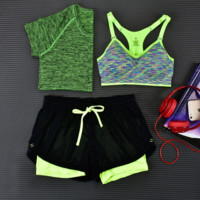 3pcs Women's Sport Bras Padded Yoga Fitness Racerback Vest Shorts Set 02