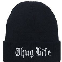 Winter Warm Knit Thug Life Beanie Hat for Men and Women Winter Cap Skully Letter Beanie Black free