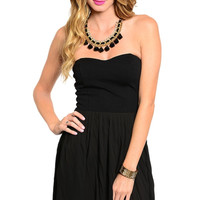Strapless Sweetheart Accordian Pleated Skirt Dress