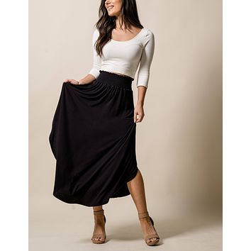 Bamboo Tulip Skirt - Black