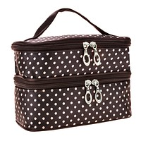 Womens Fashion Portable Toiletry Bag Dot Pattern Double Layer Makeup Bag