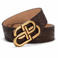 Tiktoki1 Balenciaga Fashion Women Men Double BB Metal Buckle Belt Embossing Belt Coffee