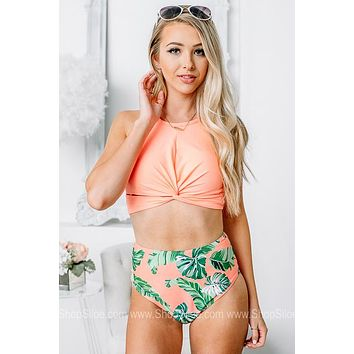 Meet Me In Cozumel Palm Leaf Swimsuit | Set