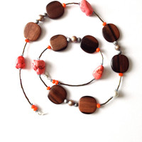 Long Wood and Pink Turquoise Necklace