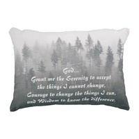 Serenity Prayer Misty Forest Accent Pillow