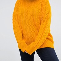 ASOS CURVE Sweater with Cable Stitch & High Neck at asos.com