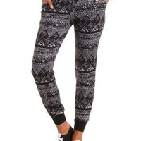 Tribal Print Jogger Pants by Charlotte Russe - Black Combo