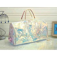 LV fashion casual men's and women's shopping bag hot seller with transparent printed gradient shoulder bag #1