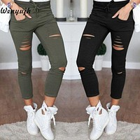 WENYUJH S-4XL  Skinny Jeans Women Denim Pants Holes Destroyed Knee Pencil Pants Casual Trousers Black White Stretch Ripped Jeans