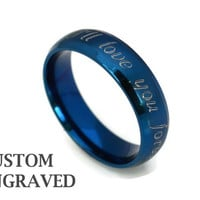 6mm Unisex Engraved Stainless Steel Blue Ring - Personalized Steel Ring -Stainless Steel Men Women Custom Ring - Custom Engraved Blue Ring