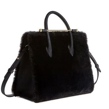 The Strathberry Midi Tote - Black Shearling