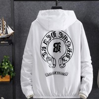 """Chrome Hearts"" Unisex Letter Print Hooded Long Sleeve Thin Windbreaker Couple Sun Protection Clothing  Waterproof Pullover Tops"