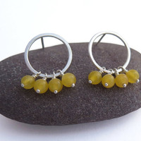 Hoop Earrings with Yellow Jade - Circle Post Earrings - Sterling Silver and Gemstone Earrings